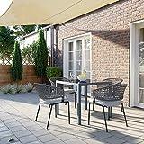 Gartentisch Glas Balkontisch quadratisch Outdoor Picknick Party Tischplatte aus Hartglas - 2