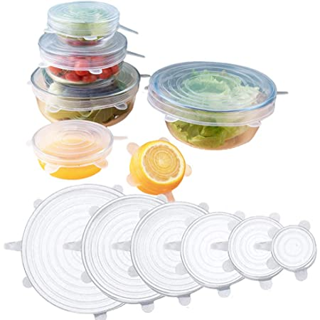 1//4 Stretch Reusable Silicone Bowl Food Storage Wrap Cover Seal Fresh Lids Film