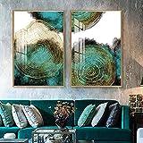Cartel de arte de pared de anillos de árbol de hoja abstracta moderna, textura de planta verde dorada, impresión en lienzo, pintura, pasillo, sala de estar, decoración del hogar-50x70cmx2 (sin marco)