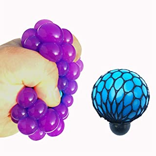 Stress Relief Rubber Grape Ball Hand Wrist Squeeze Toy Stress Autism Mood Relief (Blue)