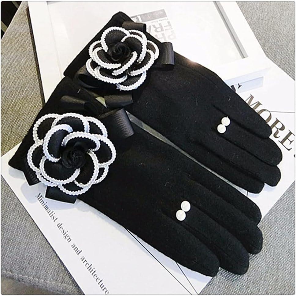 WBDL Gloves Winter Women Gloves Cashmere Mittens Female Big Flower Warm Women Driving Gloves