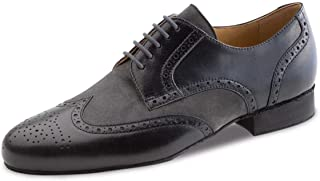 Werner Kern Hombres Zapatos de Baile 28023 - Cuero Negro/Ante Gris - 2 cm Ballroom