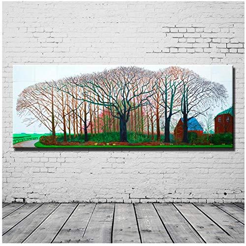 Zhaoyangeng Schilderijen Grote Grootte Canvas Schilderij Gedrukt Op Doek Grote Boom Landschap Muur Kunst voor Woonkamer Home Decor- 40Cmx100Cm Unframed