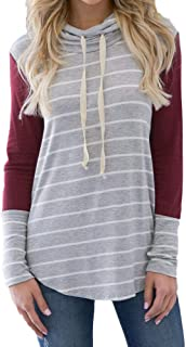 ERLOU Women Long Sleeve Casual Loose Striped Stitching Tunic Shirts Turtleneck Blouses Sweatshirts Pullover Tops