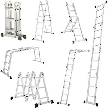 LARS360 6 en 1 Escalera de Tijera 3.4m Escalera Multifunción Plegable Escalera Articulada con Plataforma 4x3 Escalera de Aluminio Combinada Multifuncional, Cargable hasta 150KG: Amazon.es: Bricolaje y herramientas