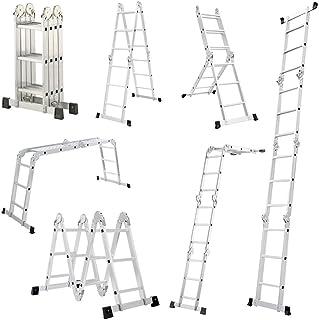 LARS360 6 en 1 Escalera de Tijera 3.4M Escalera Multifunción Plegable Escalera Articulada con Plataforma 4x3 Escalera de aluminio Escalera combinada de alta calidad, Cargable hasta 150 kg