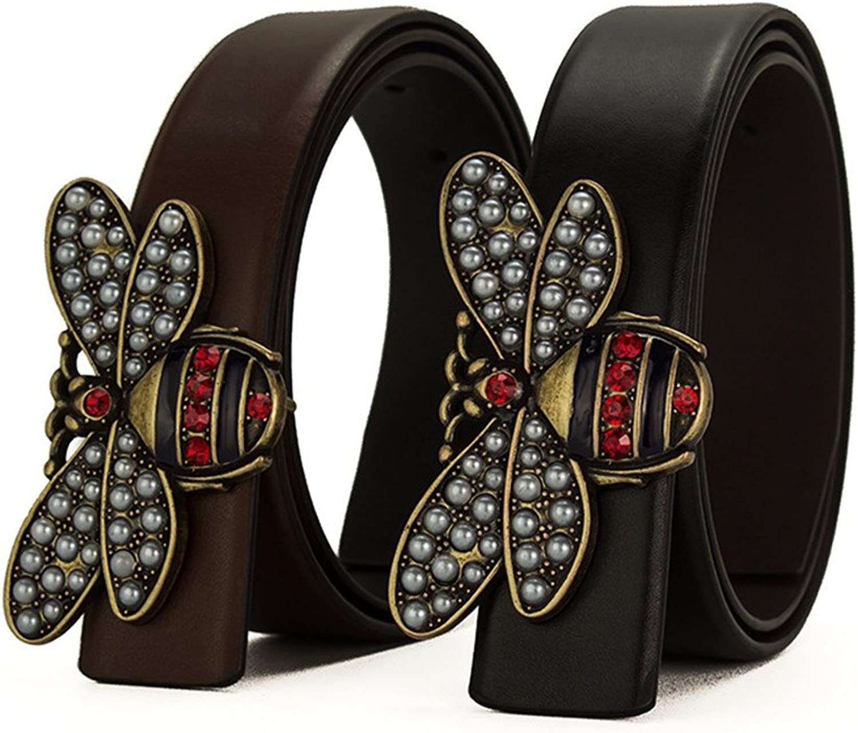 Beatfull Ladies Genuine Leather Bee Snake Buckle Belt, Fashion Designer Belt for Women & Men