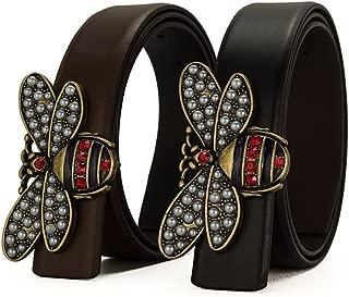 Beatfu Genuine Leather Bee buckle Belt, Fashion Designer Belt for Women (2 Colors)