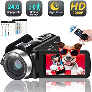 Video Camera Camcorder, 1080p 30FPS Digital YouTube Vlogging Camera Recorder with LED Fill in Light Support External Micro...