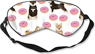 Shiba Inu Dog Dogs And Pink Donuts Design White Sleep Mask Pack Men and Women Or Children Eye Mask No Pressure Eye Masks for Sleep & Travel