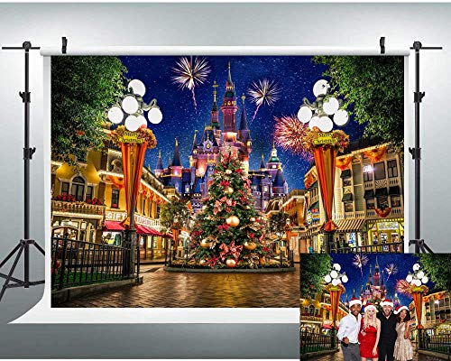 Disney Castle Backdrop 7x5ft Christmas Disney backdrops Night View Disneyland for Photography Background Family Party Kids Birthday Party Supplies Decoration Banner Photo Studio Props