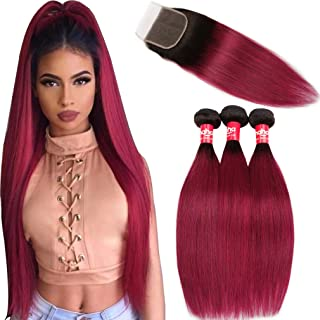 Haha Hair Ombre Brazilian Straight Hair 3 Bundles with Closure 2 Tone Black to Burgundy Dark Red Ombre Virgin Human Hair Bundles Weave with Lace Closure 1B/Burgundy, 14 16 18+12 Closure