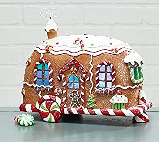 Burton and Burton 9731087 Led Crystal Glittered Gingerbread Camper, Multicolor