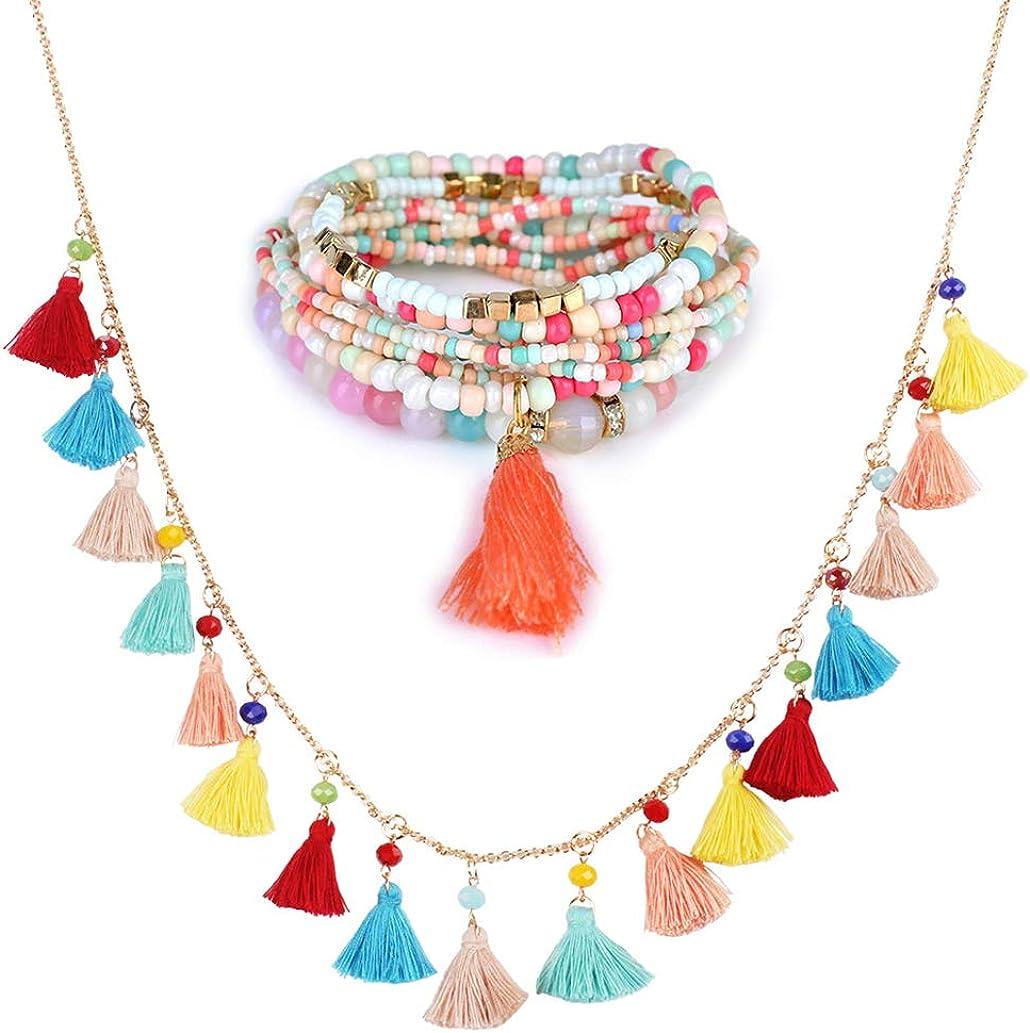 SELOVO Boho Tassel Layers Bracelet Stretch Elastic Jewelry Set Colorful Statement Necklace for Women Girls