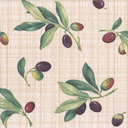 Caspari Entertaining with Olive Grove-Tovaglioli Naturali, Confezione da 20, Carta, 16.5 x 16.5 x 3 cm, unità