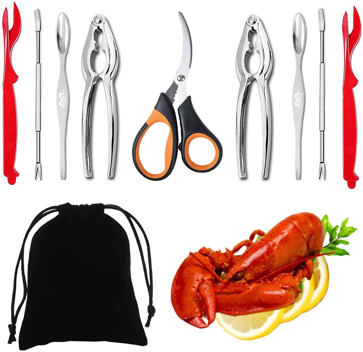 Artcome 10 Piece Seafood Tools Set - 2 Crab Crackers, 2 Lobster Shellers, 2 Seafood Forks, 2 Wide Crab Forks, 1 Seafood Scissors and 1 Storage Bag: Home & Kitchen