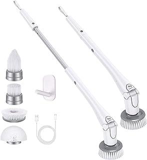 Tilswall Cepillo Limpieza Eléctrico 300 RPM,Spin Scrubber 4000 mAh,70-110CM Extensible,Ajustable 0-80 °,4 Cabezales Difere...
