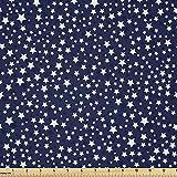 Lunarable Dunkelblauer Stoff von The Yard, Weiße Sterne