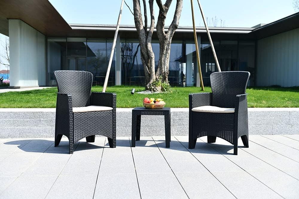 NATUUR Conjunto de Mueble de jardín Resina Antracita Patagonia. Incluye Mesa y Dos sillones