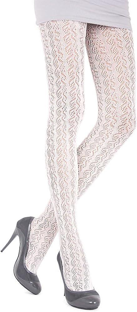 Conte Effect Women's Cotton Warm Ajour 3D Flower Bud Pattern Pantyhose Tights
