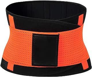 Waist Trainer Belt Postpartum Belly Wrap Weight Loss Workout Fitness Slimmer Trimmer Body Shaper Sport Girdle Belt(Orange,M)