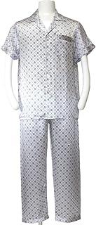 メンズ100%シルクパジャマ (半袖?プリント柄)