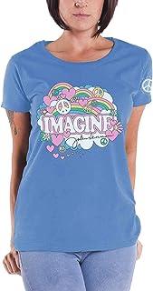 John Lennon T Shirt Rainbows Love & Peace Nouveau Officiel Femme Skinny Fit Bleu
