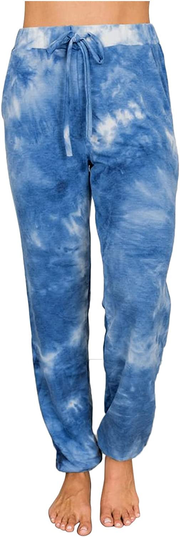 Tenworld High material B Tie Dye Pants for Elastic Women Waist Drawstring Excellent High