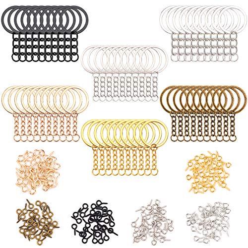 Juego de 240 anillos de llavero que incluye 60 llaveros de metal plano divididos con cadena y conector de anillo de salto abierto, 180 pasadores de tornillo a granel en 6 colores