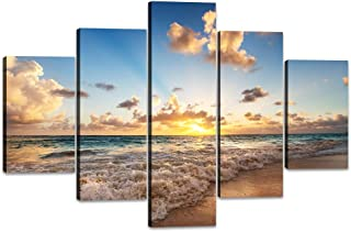 Tropical Beach Wall Art Decor Beautiful Ocean Canvas Painting Unreal Sunset Pictures Modern Seascape Poster Print Artwork for Living Room Bedroom Home House Decor Framed Ready to Hang (60''W x 40''H)