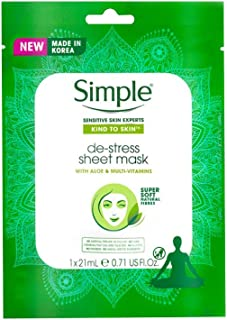 Simple Kind To Skin De-Stress Face Sheet Mask 21Ml