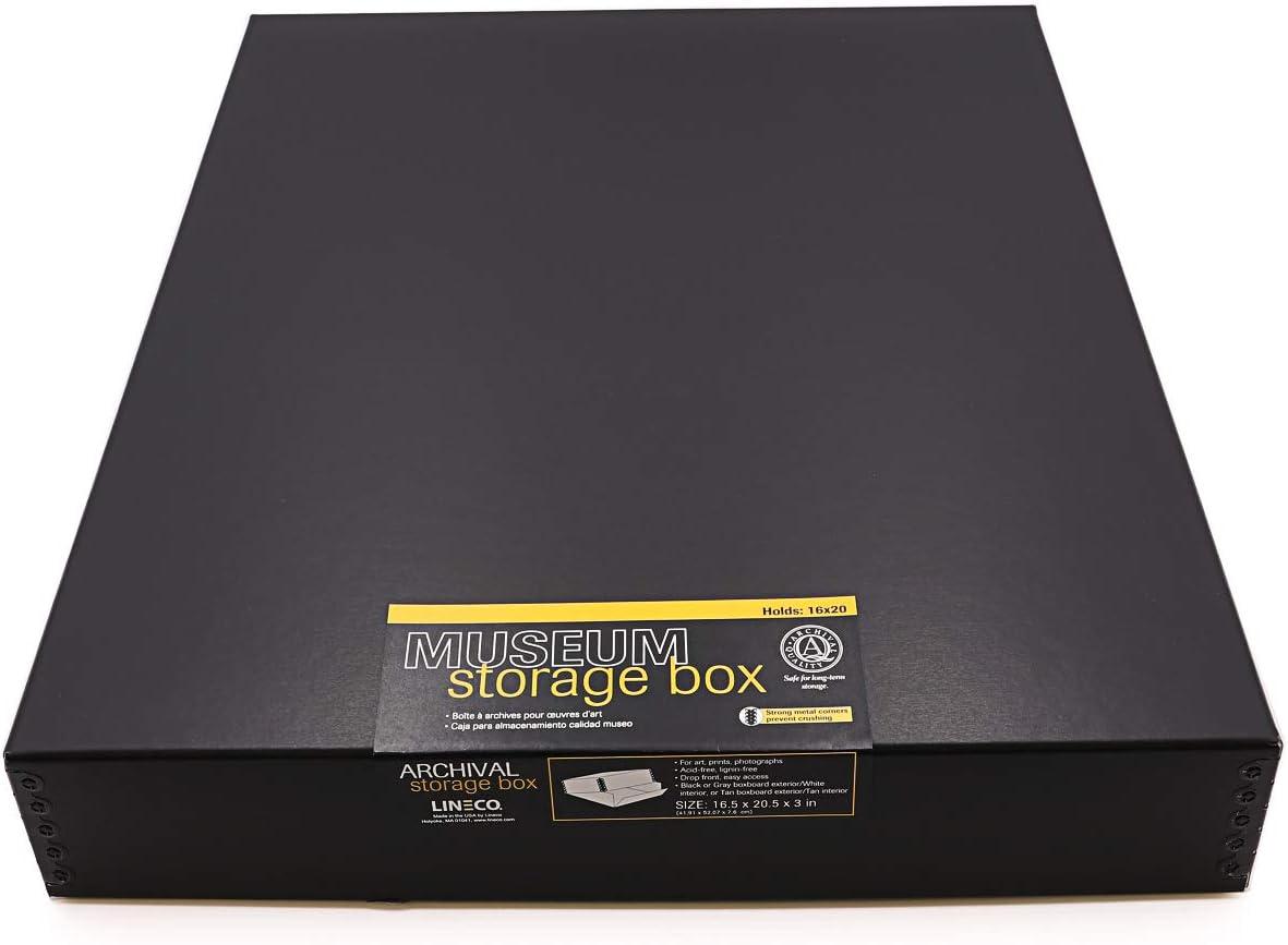 Popular popular Lineco 16x20 Black OFFicial Museum Archival Storage Box Drop Desi Front