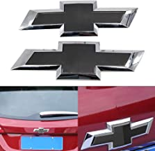 Cardiytools Black Front & Tailgate Bowtie Emblem for 2016 - 2019 GM Chevy Silverado 1500
