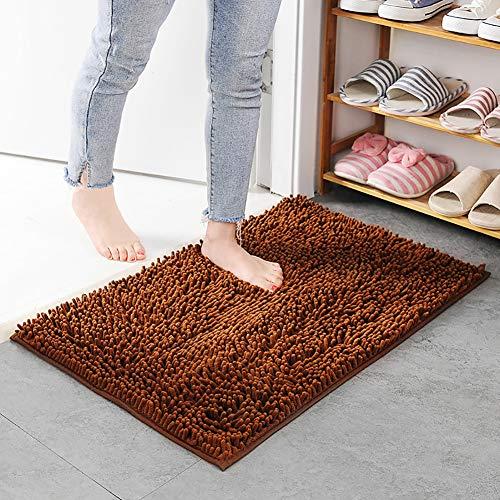 Soft Microfiber Bathroom Carpet, Chenille Non Slip Plush Super Absorbent Soft Rug Washable For Bedroom Kitchen Door Mat Foot Pad-brown 60x90cm