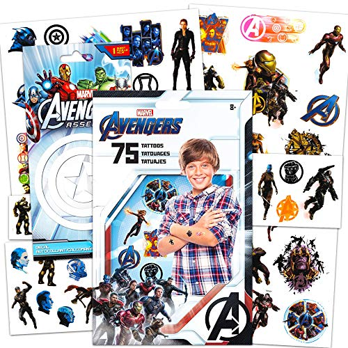 Avengers Tattoos - 75 Assorted Avengers Infinity War Temporary Tattoos Bundled With 1 Jumbo Avengers Sticker Decal