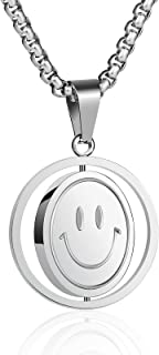 RS Stainless Steel Smiley Face Crying Face Necklace for Men Boys Rotatable Cute Smile Pendant