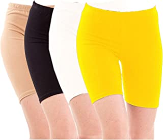 Pixie Biowashed Cycling Shorts for Girls/Women/Ladies Combo (Pack of 4) Beige, Black, White, Yellow - Free Size