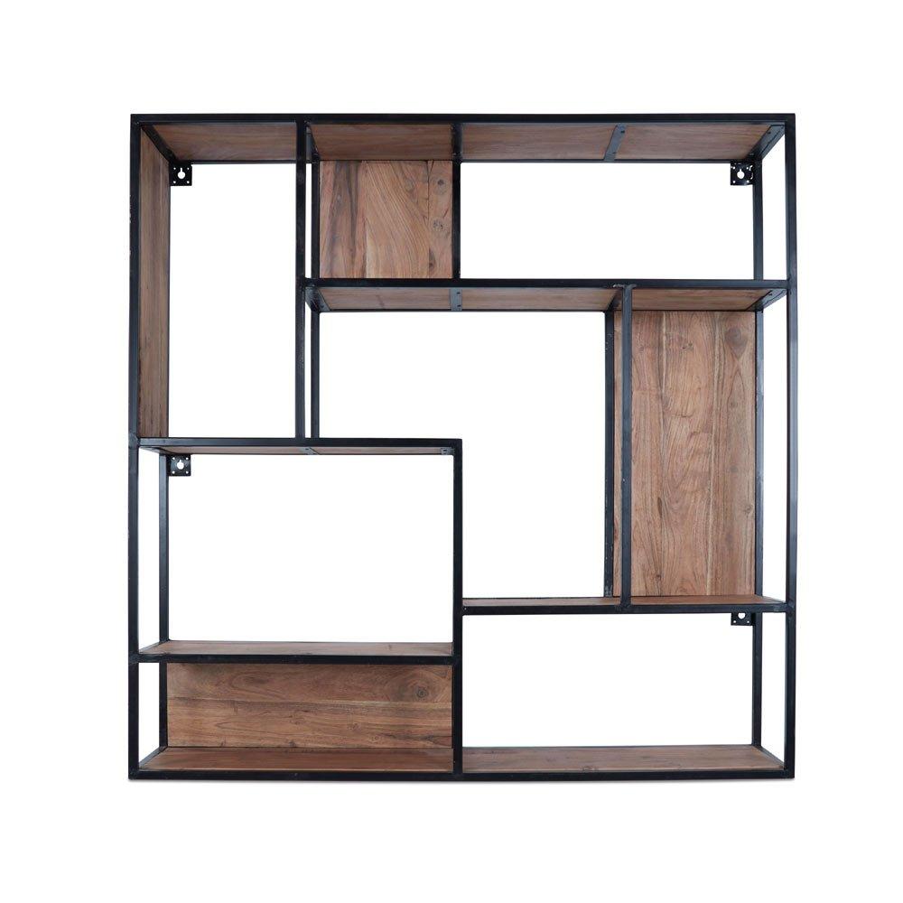 Homy Estantería de Pared Cuadrado Madera Metal estantes Madera de Acacia marrón Estructura de Metal Hierro Negro – Stairs: Amazon.es: Juguetes y juegos