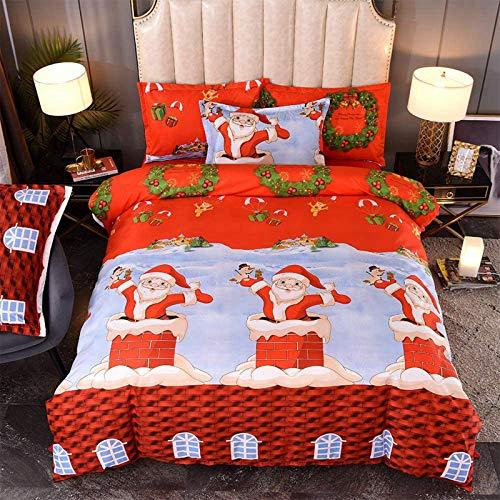 CQLXZ Christmas Duvet Cover,Microfiber fabric,Eco,Soft,Breathable,3D printed Bohemian hotel-style,for Xmas Gift New Year Decor (D, Single135X200cm)