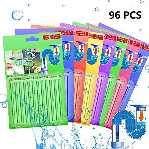 Sopplea 96 Stück Drain Cleaning Sticks Rohrreinigungsstab,Abfluss Sticks,Stoppe Stinkende & Verstopfte, Enzymreiniger für verstopfte Rohre in WC Toilette, Bad, Dusche und Küche