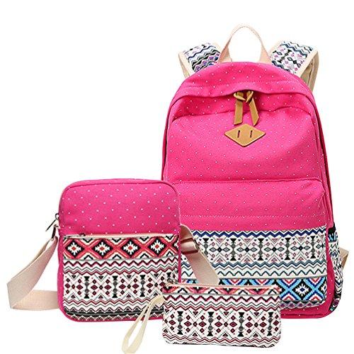 MingTai 3PCS Schulrucksack Canvas Rucksack Schulrucksäcke Damen Kinderrucksack Mädchen Schultaschen Rucksäcke Schultasche Teenager Kuriertaschen Handtasche Brieftasche
