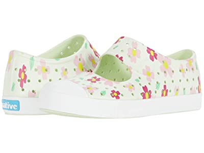Native Kids Shoes Juniper Print (Little Kid) (Cucumber Green/Shell White/Daisy) Girls Shoes