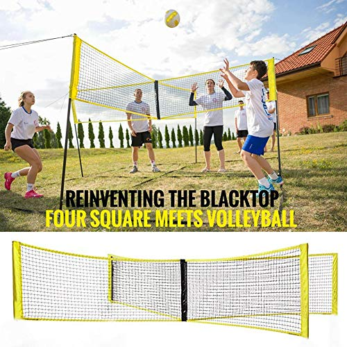 Volleyball-Netz, Vierseitiges Cross-Volleyball-Netz, 59 X 20 Zoll, Vier Quadrate, Trifft Auf Volleyball-Netz, PE Langlebiges Cross-Volleyball-Trainingsnetz, Sport-Badminton-Spielnetz, Für Strand, Gar