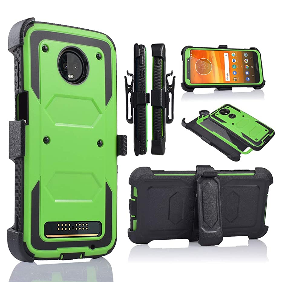 for Motorola Moto Z3 Play, Z Play 3rd Generation 2018 Release (XT1929) Full Body Armor Rugged Holster Defender Hybrid Case with 360 Swivel Belt Clip & Built in Screen Protector (Green)