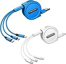کابل های شارژ سریع چند منظوره قابل جمع شدن با اتصالات پورت میکرو USB Mini Type C 3 در 1 کابل های شارژ جمع شونده سازگار/جایگزین با قرص های تلفن همراه (4Ft ، 2Pack ، آبی