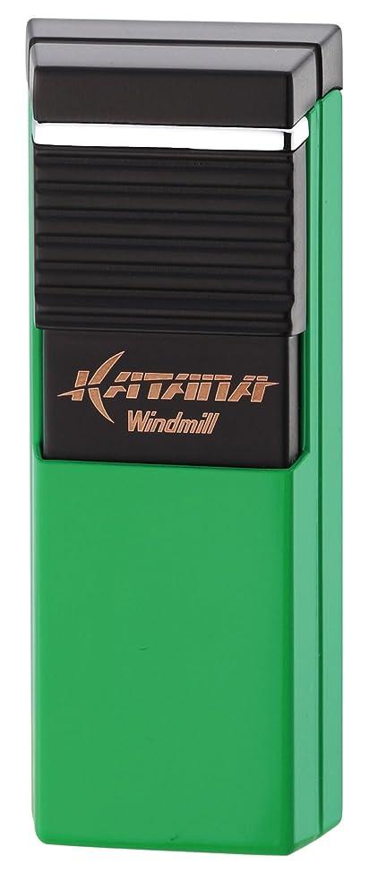 敬礼しないでください批判WINDMILL(ウインドミル) ガスライター カタナ フラットフレーム 葉巻用 グリーン W08-0004