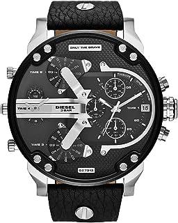 Diesel Mr. Daddy Men'S Black Dial Leather Band Watch Dz7313, Japanese Quartz, Analog