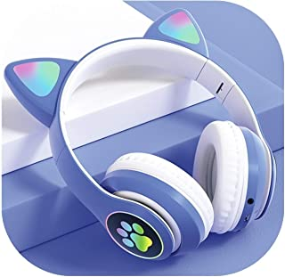 Headsets with Microphone Headset Wireless Headset RGB Light Cat Ear Cat Paw Girl Gift Bluetooth Headset HiFi Stereo Bass C...