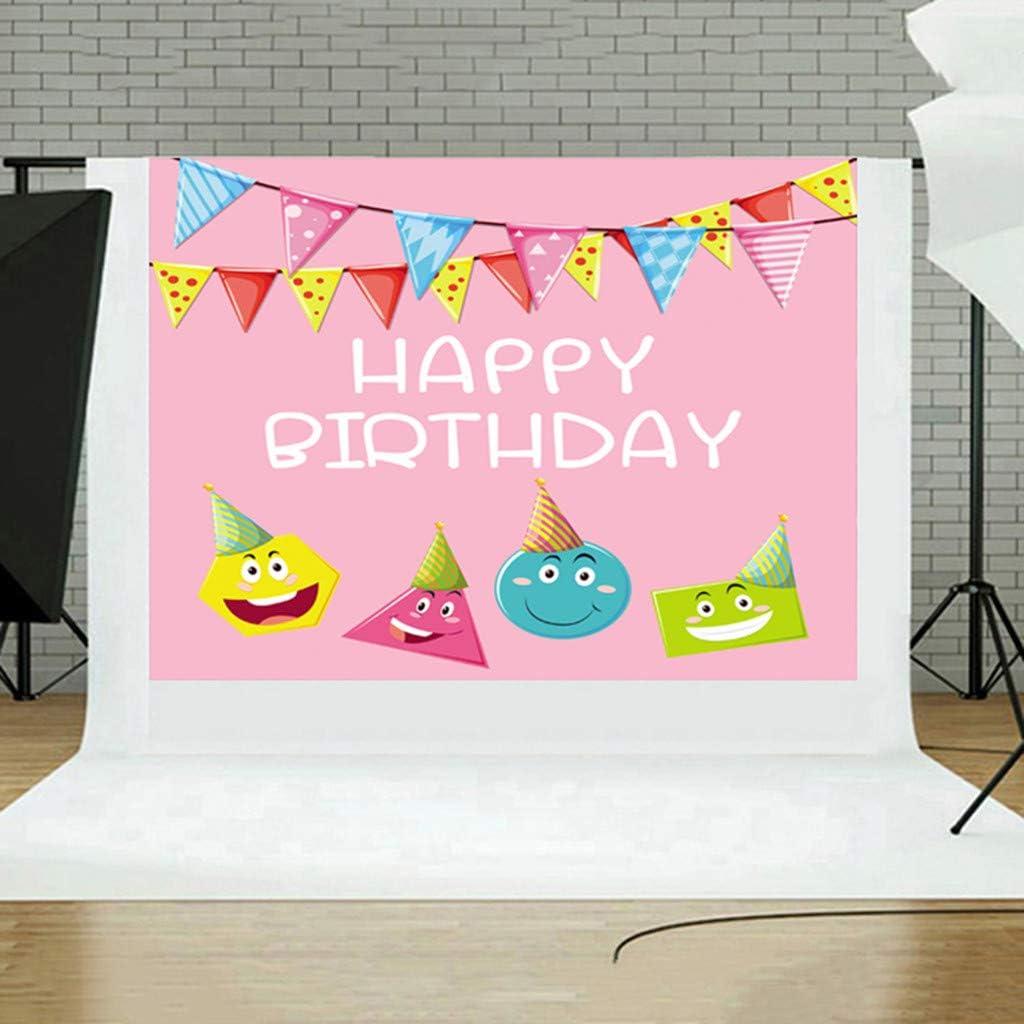 Happy Birthday Newborn Photo Vinyl Background Backdrop Studio Props Photo Backgrounds backdrops for Photoshoot Photo Studio Folding Opaque Back Screen for Photography Polyester 150 x 90cm