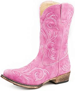 Roper 9In Girls Kids Pink Faux Leather Riley Cowboy Boots 11